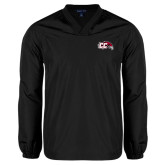 V Neck Black Raglan Windshirt-CC with Thunderbird