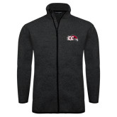 Black Heather Fleece Jacket-CC with Thunderbird
