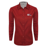 Ladies Red Twill Button Down Long Sleeve-CC with Thunderbird