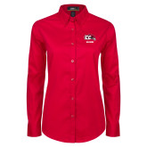 Ladies Red Twill Button Down Long Sleeve-Alumni
