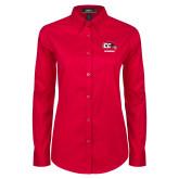 Ladies Red Twill Button Down Long Sleeve-Grandma