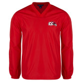 V Neck Red Raglan Windshirt-CC with Thunderbird