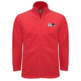 Fleece Full Zip Red Jacket-CC with Thunderbird