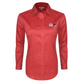 Ladies Red House Red Long Sleeve Shirt-CC with Thunderbird