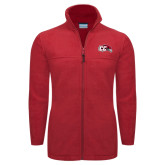 Columbia Full Zip Red Fleece Jacket-CC with Thunderbird