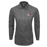 Ladies Grey Tonal Pattern Long Sleeve Shirt-CC with Thunderbird