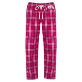 Ladies Dark Fuchsia/White Flannel Pajama Pant-CC with Thunderbird