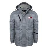 Grey Brushstroke Print Insulated Jacket-CC with Thunderbird