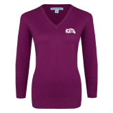 Ladies Deep Berry V Neck Sweater-CC with Thunderbird