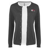 Ladies Charcoal Cardigan-CC with Thunderbird