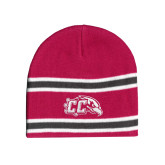 Pink/Charcoal/White Striped Knit Beanie-CC with Thunderbird