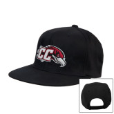 Black Flat Bill Snapback Hat-CC with Thunderbird
