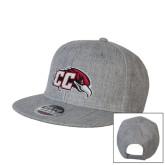 Heather Grey Wool Blend Flat Bill Snapback Hat-CC with Thunderbird