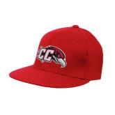 Red OttoFlex Flat Bill Pro Style Hat-CC with Thunderbird