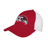 Red/White Mesh Back Unstructured Low Profile Hat-CC with Thunderbird
