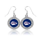 Crystal Studded Round Pendant Silver Dangle Earrings-Catawba Arrowhead
