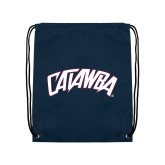 Nylon Navy Drawstring Backpack-Catawba Primary Mark