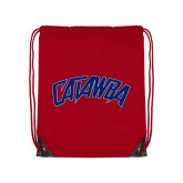 Nylon Red Drawstring Backpack-Catawba Primary Mark