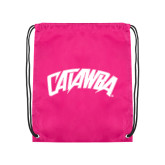 Nylon Pink Drawstring Backpack-Catawba Primary Mark