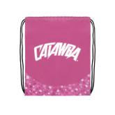 Nylon Pink Bubble Patterned Drawstring Backpack-Catawba Primary Mark