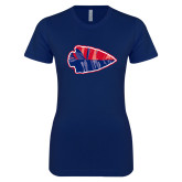 Next Level Ladies SoftStyle Junior Fitted Navy Tee-Arrowhead
