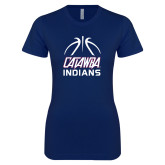 Next Level Ladies SoftStyle Junior Fitted Navy Tee-Basketball on Top