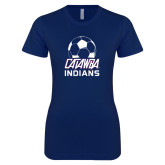 Next Level Ladies SoftStyle Junior Fitted Navy Tee-Soccer on Top