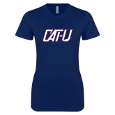 Next Level Ladies SoftStyle Junior Fitted Navy Tee-Cat U