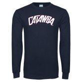 Navy Long Sleeve T Shirt-Catawba Primary Mark