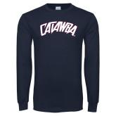 Navy Long Sleeve T Shirt-Catawba Primary Mark