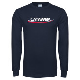 Navy Long Sleeve T Shirt-Catawba with Swoop