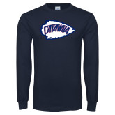 Navy Long Sleeve T Shirt-Catawba Arrowhead