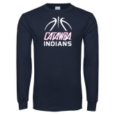 Navy Long Sleeve T Shirt-Basketball on Top