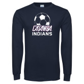 Navy Long Sleeve T Shirt-Soccer on Top