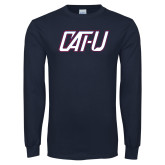 Navy Long Sleeve T Shirt-Cat U