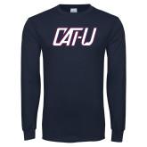 Navy Long Sleeve T Shirt-Cat U