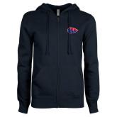 ENZA Ladies Navy Fleece Full Zip Hoodie-Arrowhead