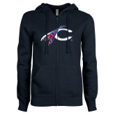 Catawaba ENZA Ladies Navy Fleece Full Zip Hoodie-C with Feathers