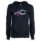 ENZA Ladies Navy Fleece Full Zip Hoodie-C with Feathers