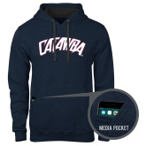 Contemporary Sofspun Navy Heather Hoodie-Catawba Primary Mark