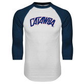 White/Navy Raglan Baseball T-Shirt-Catawba Primary Mark