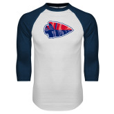 White/Navy Raglan Baseball T-Shirt-Arrowhead