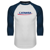 White/Navy Raglan Baseball T-Shirt-Catawba with Swoop