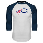 White/Navy Raglan Baseball T Shirt-C with Feathers