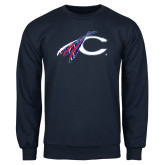 Navy Fleece Crew-C with Feathers