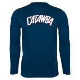 Performance Navy Longsleeve Shirt-Catawba Primary Mark