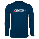 Performance Navy Longsleeve Shirt-Catawba with Swoop