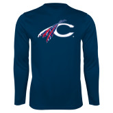 Catawaba Syntrel Performance Navy Longsleeve Shirt-C with Feathers