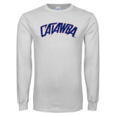 White Long Sleeve T Shirt-Catawba Primary Mark
