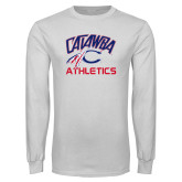 White Long Sleeve T Shirt-Catawba Athletics